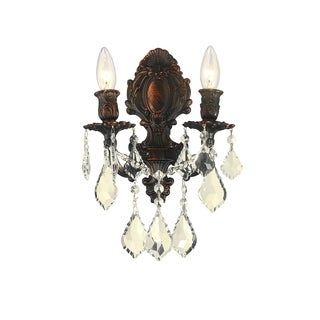 """French Royal Collection 2 Light Flemish Brass Finish & Golden Teak Crystal Candle Wall Sconce 12"""" W x 13"""" H Medium"""