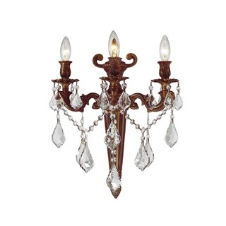 """French Royal Collection 3 Light French Gold Finish Crystal Torch Wall Sconce 15"""" W x 18"""" H Large"""