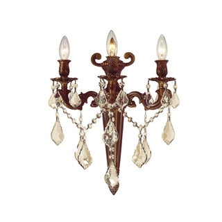 """French Royal Collection 3 Light French Gold Finish & Golden Teak Crystal Torch Wall Sconce 15"""" W x 18"""" H Large"""