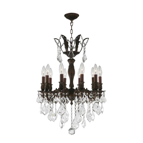 """French Royal Collection 10 Light Flemish Brass Finish and Clear Crystal Chandelier 19"""" D x 25"""" H Med"""
