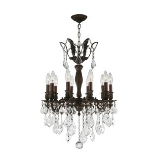 "French Royal Collection 10 Light Flemish Brass Finish and Clear Crystal Chandelier 19"" D x 25"" H Medium"
