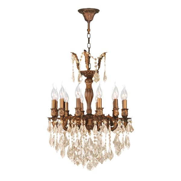 "French Royal Collection 12 Light French Gold Finish and Golden Teak Crystal Chandelier 20"" D x 26"" H"