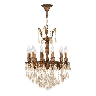 "French Royal Collection 12 Light French Gold Finish and Golden Teak Crystal Chandelier 20"" D x 26"" H Medium"