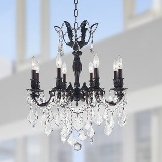 "French Royal Collection 8 Light Flemish Brass Finish and Clear Crystal Chandelier 22"" D x 26"" H Medium"