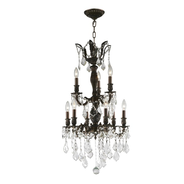 """French Royal Collection 9 Light Flemish Brass Finish and Clear Crystal Chandelier 19"""" D x 33"""" H Medium"""