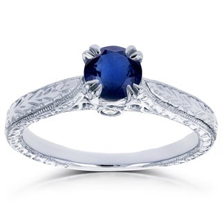 Annello by Kobelli 14k White Gold 1/2ct TGW Round Sapphire and Diamond Vintage Engagement Ring