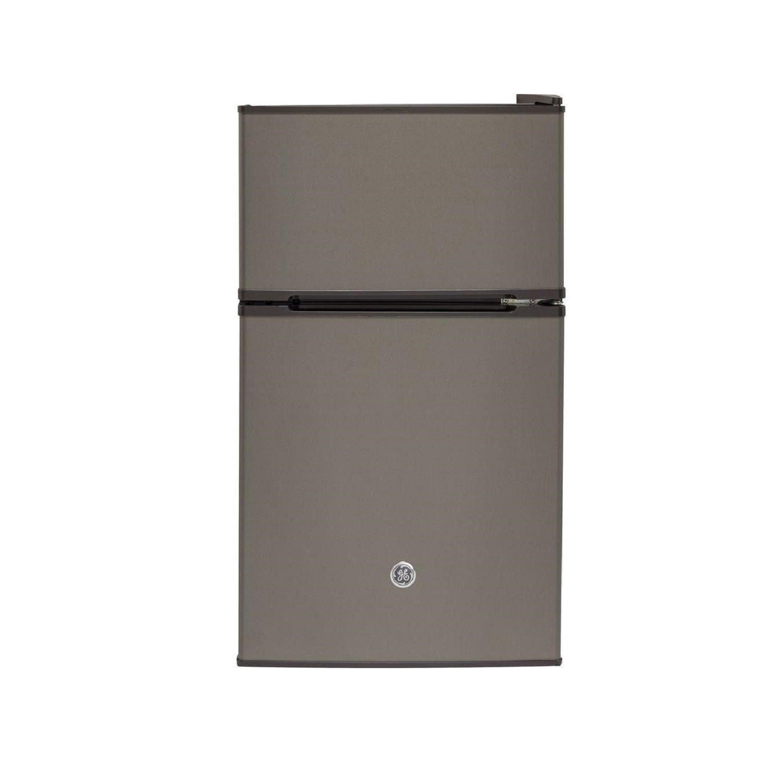 Steel Ft GE Appliances 3.1 Cu Freestanding Double Door Compact Refrigerator