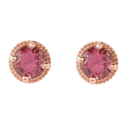 """Pinctore 18K Rose Gold Over Sterling Silver 0.9ctw Pink Tourmaline Studs Earrings 0.26""""L"""
