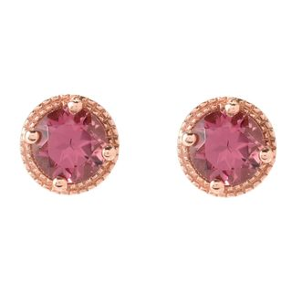 "18K Rose Gold Over Sterling Silver 0.9ctw Pink Tourmaline Studs Earrings 0.26""L"