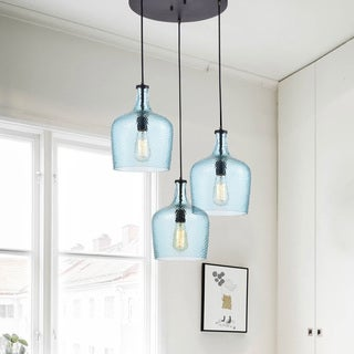 Belinda Mouth-blown Blue Glass Cluster Pendant Chandelier in Antique Black Finish