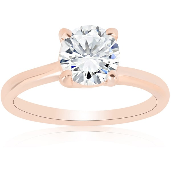 14k Rose Gold 1ct TDW Diamond Round Brilliant Cut Solitaire Clarity Enhanced Engagement Ring (H-I I1-I2)