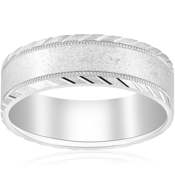 10k White Gold Mens Band 7mm Flat Brushed Polished Cuts Comfort Fit Wedding Ring