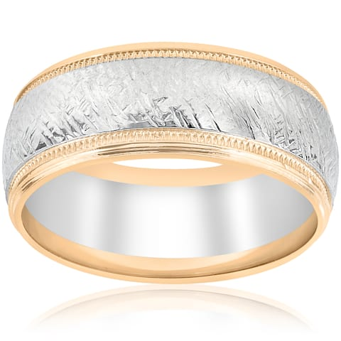 14k White & Yellow Gold Mens Two Tone Wedding Ring Mans Ring 8MM Hand Etched Unique Milgrain Vintage Accent