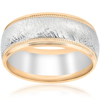 Link to 14k White & Yellow Gold Mens Two Tone Wedding Ring Mans Ring 8MM Hand Etched Unique Milgrain Vintage Accent Similar Items in Rings