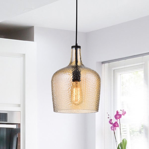 Belinda Mouth-blown Tawny Glass Pendant Chandelier in Antique Black Finish