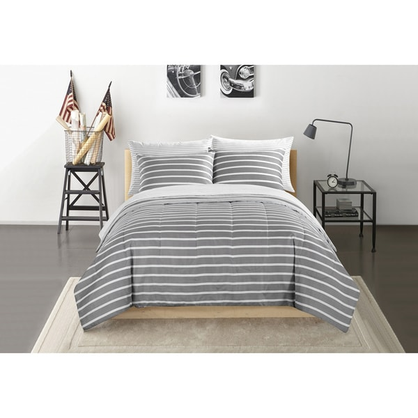 Grey and White Striped Bed in a Bag Bedding Set