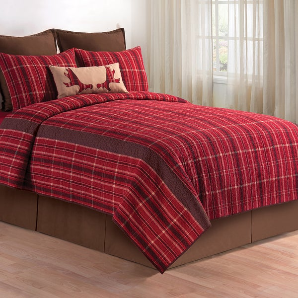 Collin Red Cotton Quilt (Shams Not Included)