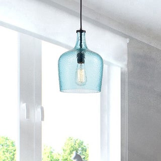 Belinda Mouth-blown Blue Glass Pendant Chandelier in Antique Black Finish