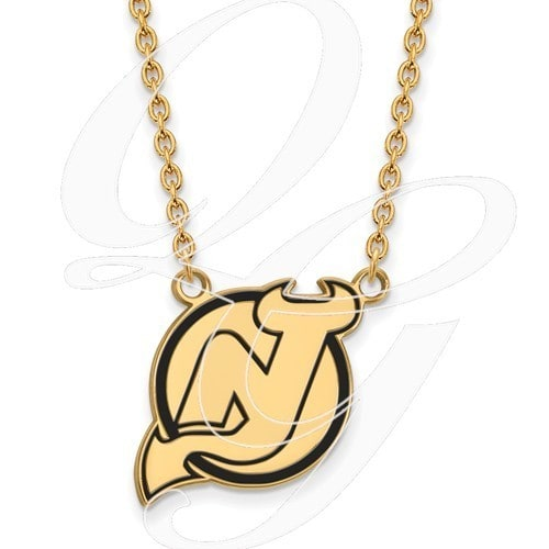 Shop sterling silver with gold plating nhl logoart new jersey devils sterling silver with gold plating nhl logoart new jersey devils large enamel pendant with necklace aloadofball Images
