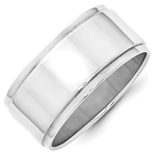 10 Karat White Gold 10mm Flat with Step Edge Band