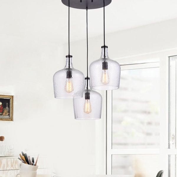 Belinda Mouth-blown Clear Glass Cluster Pendant Chandelier in Antique Black Finish
