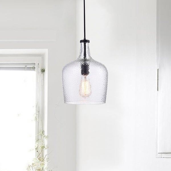 Belinda Antique Black Mouth-blown Clear Glass Pendant Chandelier