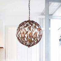 Holly Antique Copper Orb Shaped Leaves Chandelier with 6 Lights