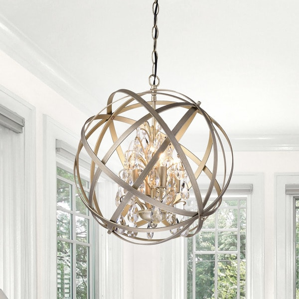 Benita Brushed Champagne Metal and Crystal Orb 4-light Chandelier