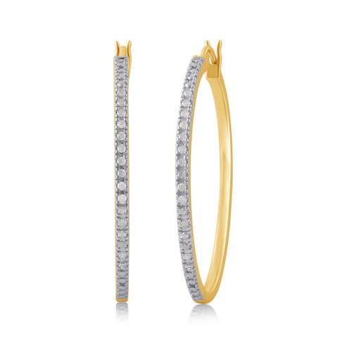 Divina Sterling Silver Yellow and Rose Goldtone 1/4ct TDW Diamond Hoop Earring. (I-J/I2-I3).