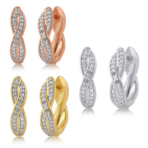 Divina Silver overlay, Yellow and Rose Goldtone Diamond Accent Infinity Hoop Earring (I-J/I2-I3).