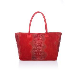 Lisa Minardi Top Handle Red Leather Tote Bag