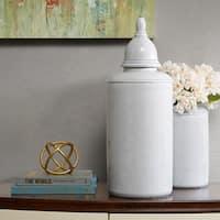 Madison Park Signature Clift Light Grey Ceramic Jar - Large