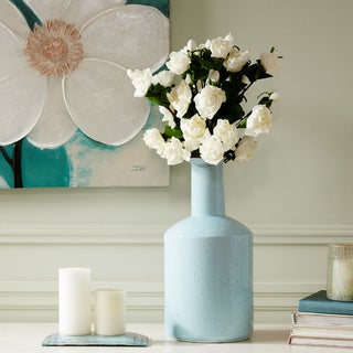 Madison Park Signature Clift Light Blue Ceramic Vase - Medium