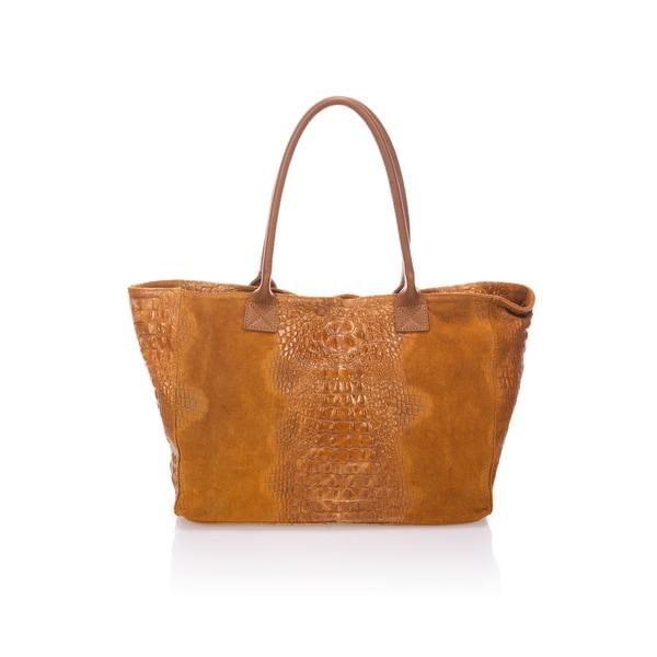 shop lisa minardi cognac leather top handle tote bag free shipping