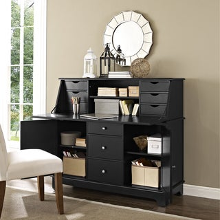 Crosley Furniture Sullivan Black Finish Wood Secretary Desk