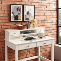 Crosley Furniture Campbell White Wood Writing Desk Hutch