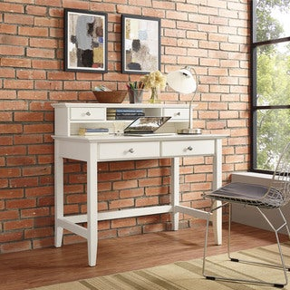 Campbell Writing Desk with Hutch in White Finish