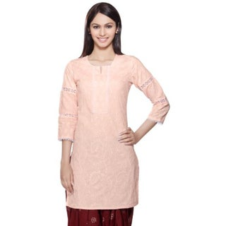 Handmade In-Sattva Womens Indian Ethnic Kurta Tunic Lace & Sequins Work (India)