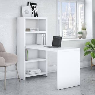 Office by kathy ireland Echo 56W Bookcase Desk in Pure White|https://ak1.ostkcdn.com/images/products/16003439/P22396803.jpg?impolicy=medium