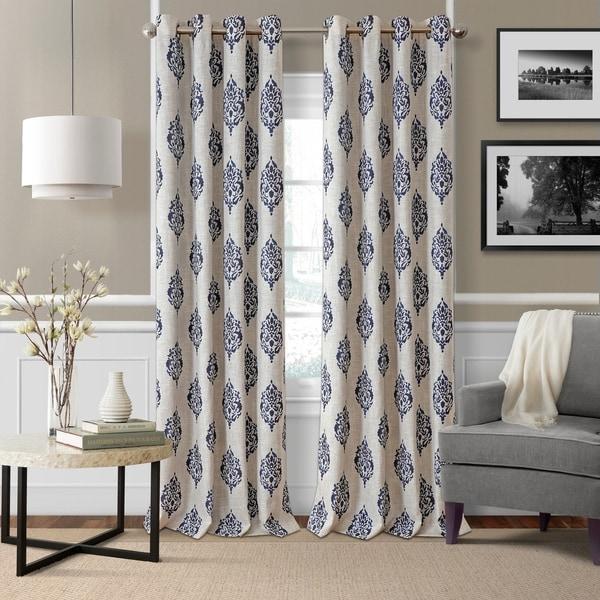 Navara Medallion Room Darkening Window Curtain (As Is Item)