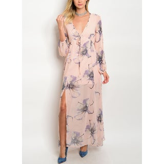 JED Women's Blush Empire Waist Floral Chiffon Long Dress