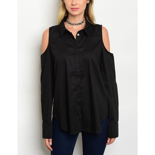 JED Women's Relax Fit Cold Shoulder Collared Button-Down Shirt