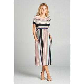 Spicy Mix Desirae Striped Midi Dress with Side Slit Pockets