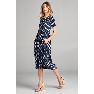 Spicy Mix Payten Polka Dot Print Midi Dress with Side Slit Pockets