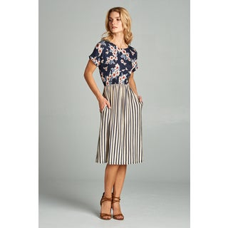 Spicy Mix Kaia Striped Floral Midi Dress with Side Slit Pockets