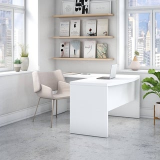 Office by kathy ireland Echo L Shaped Bow Front Desk in Pure White