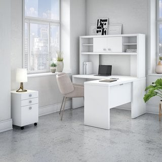 Office by kathy ireland Echo L Shaped Desk with Hutch and Mobile File Cabinet