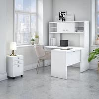Office by kathy ireland® Echo L Shaped Desk with Hutch and Mobile File Cabinet in Pure White