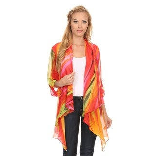 High Secret Women's Multicolor Lightweight Draped Open Front Cardigan