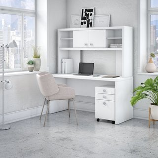 Office by kathy ireland Echo Credenza Desk with Hutch and Mobile File Cabinet
